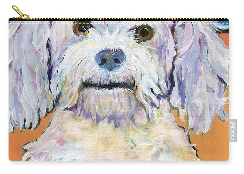 Poodle Carry-all Pouch featuring the painting Snowball by Pat Saunders-White