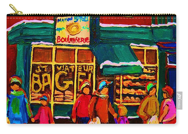 St. Viateur Bagel Carry-all Pouch featuring the painting St. Viateur Bagel Family Bakery by Carole Spandau