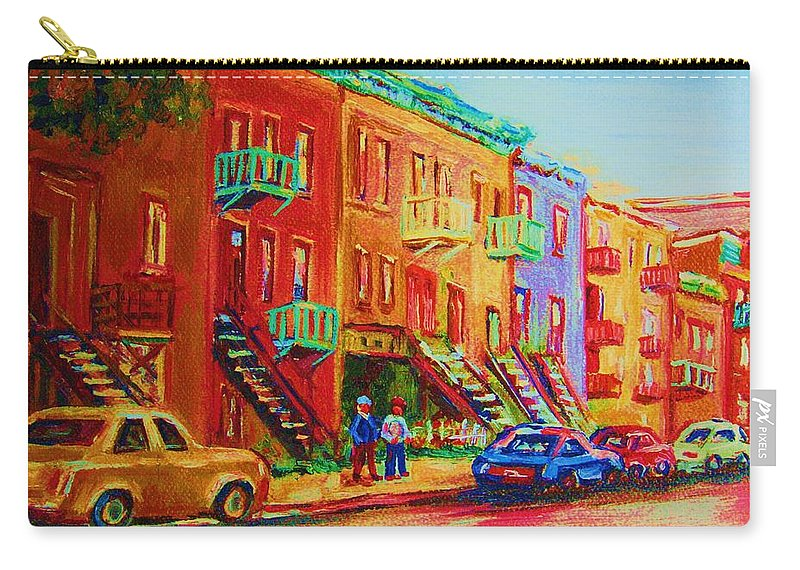 Painted Houses Carry-all Pouch featuring the painting Summer In The City by Carole Spandau