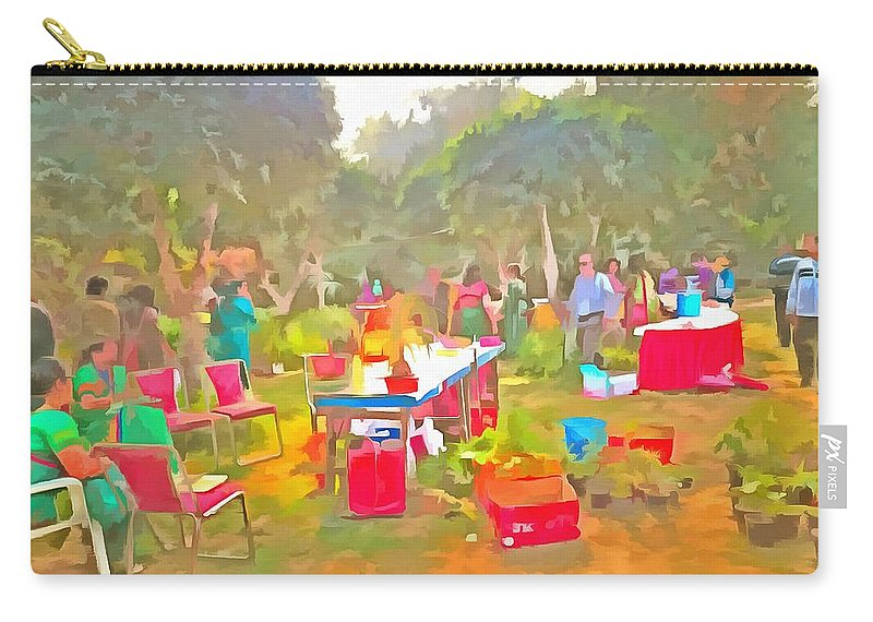 Carry-all Pouch featuring the photograph Tables And Chairs At An Exhibition by Ashish Agarwal