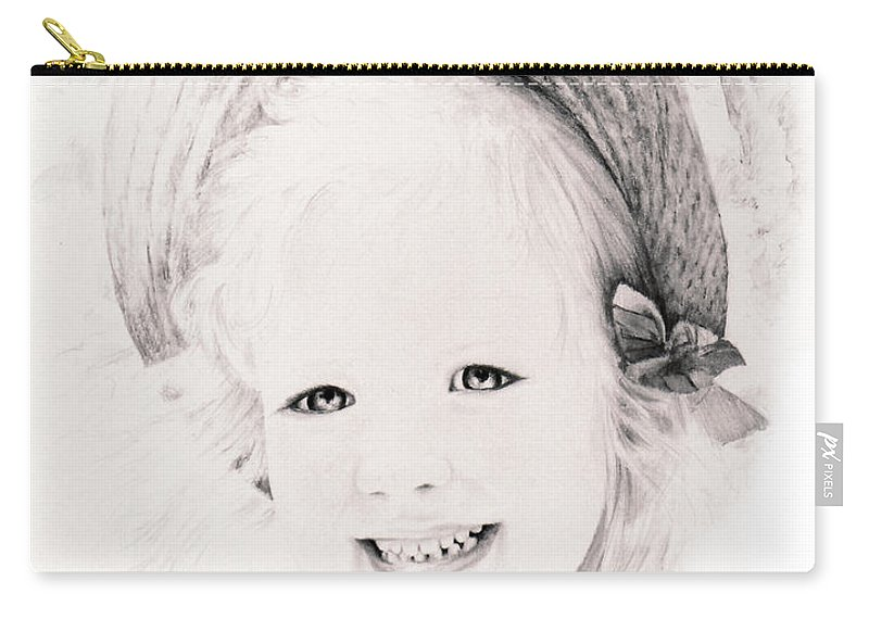 Portrait Carry-all Pouch featuring the drawing  Trudy by Rachel Christine Nowicki