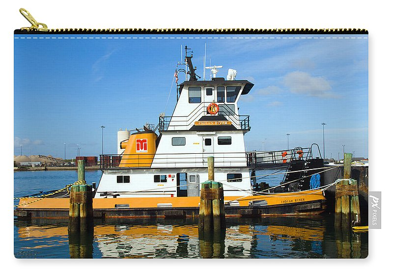 Florida; East; Space; Coast; Tug; Boat; Tugboat; Tow; Towboat; Pusher; Pushes; Push; Cargo; Fuel; Oi Carry-all Pouch featuring the photograph  Tug Indian River Is Part Of The Scene At Port Canvaeral Florida by Allan Hughes