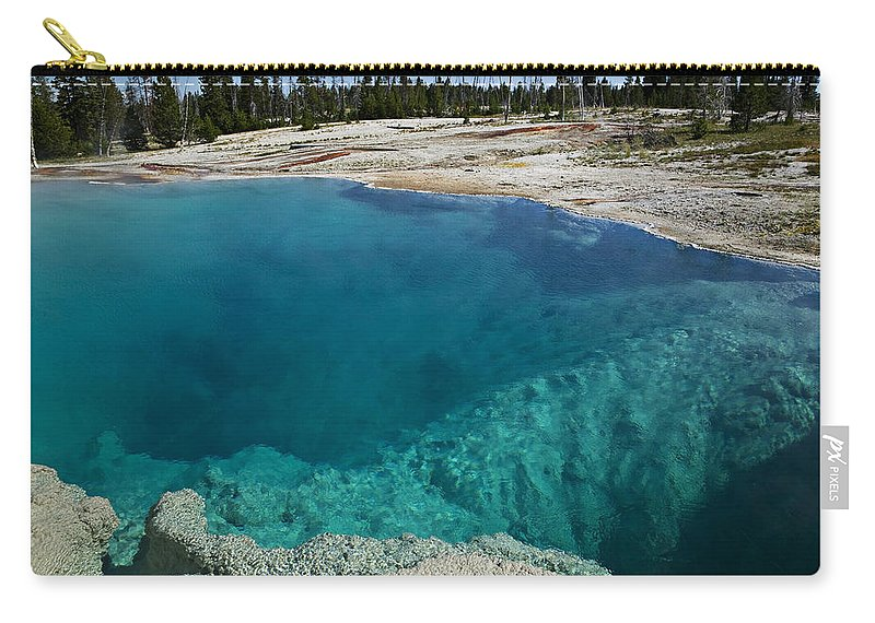 Hot Carry-all Pouch featuring the photograph  Turquoise Hot Springs Yellowstone by Garry Gay