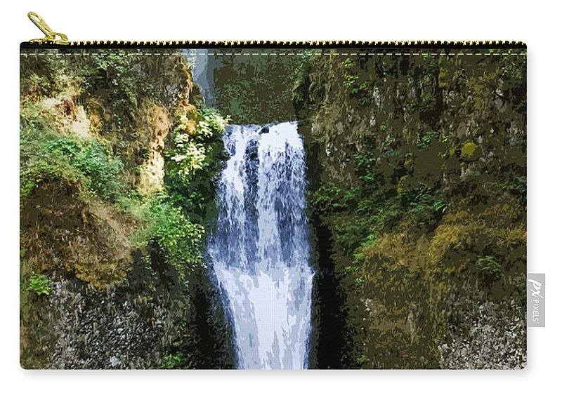 Water Falls Carry-all Pouch featuring the painting Two Falls by David Lee Thompson