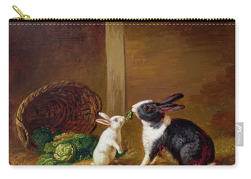 Two Carry-all Pouch featuring the painting Two Rabbits by H Baert