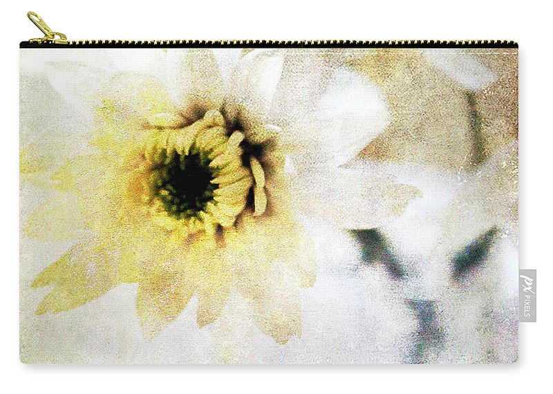 Flower Carry-all Pouch featuring the mixed media White Flower by Linda Woods