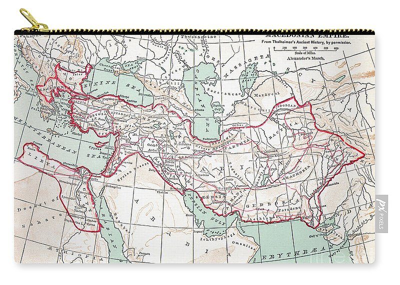 3rd Century B.c. Carry-all Pouch featuring the painting Map Of Macedonian Empire by Granger