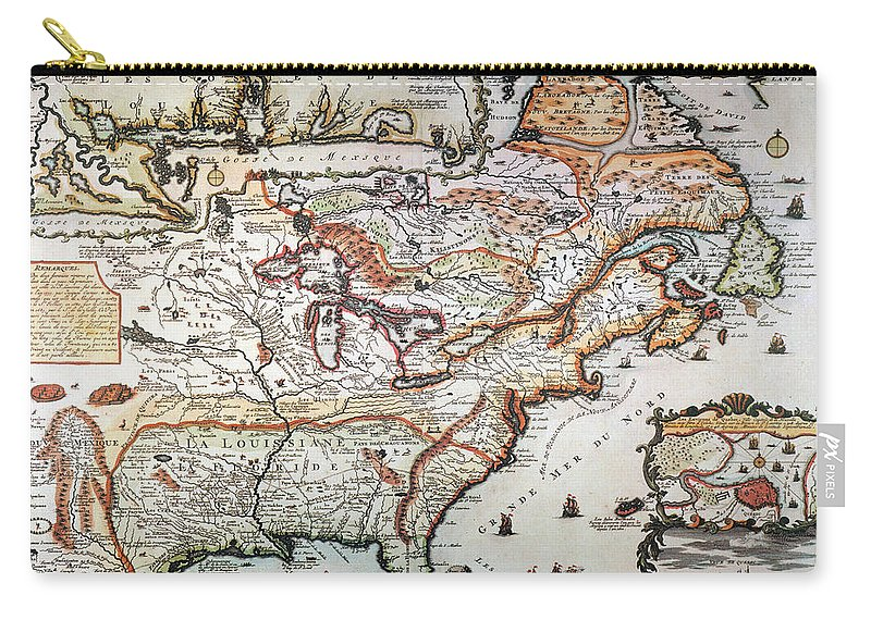 1719 Carry-all Pouch featuring the painting New France, 1719 by Granger