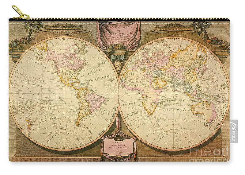 1770s Carry-all Pouch featuring the painting Captain Cook: Map, 1808 by Granger