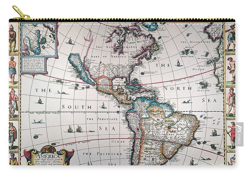 1616 Carry-all Pouch featuring the painting New World Map, 1616 by Granger