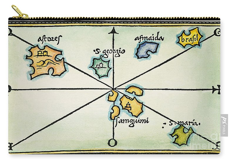 1528 Carry-all Pouch featuring the painting Azores, 1528 by Granger