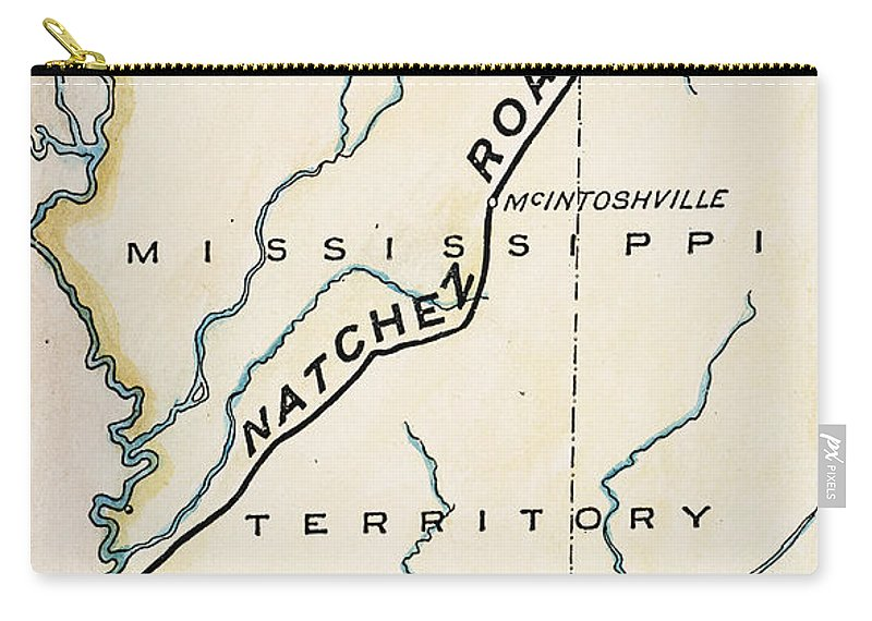 1816 Carry-all Pouch featuring the painting Natchez Trace, 1816 by Granger