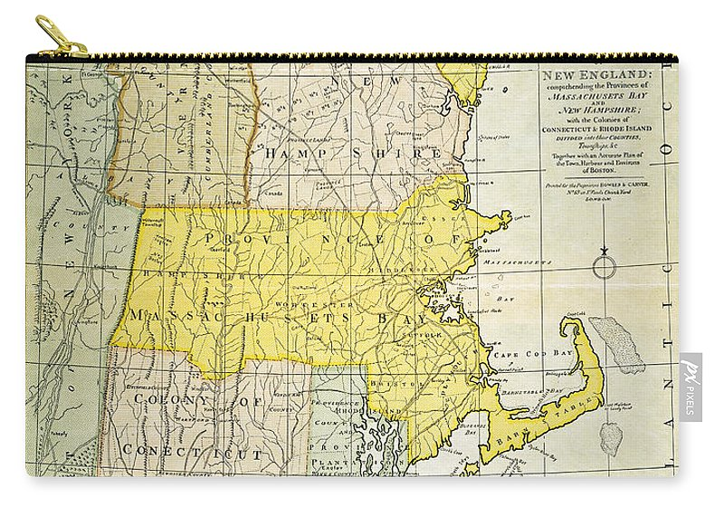 1775 Carry-all Pouch featuring the painting New England Map, C1775 by Granger