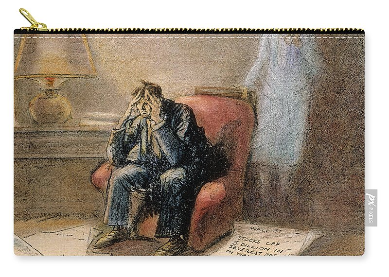 1929 Carry-all Pouch featuring the painting Stock Market Cartoon by Granger