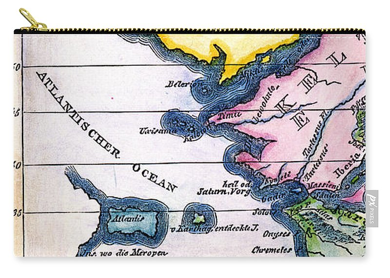 1831 Carry-all Pouch featuring the painting Atlantis: Map, 1831 by Granger