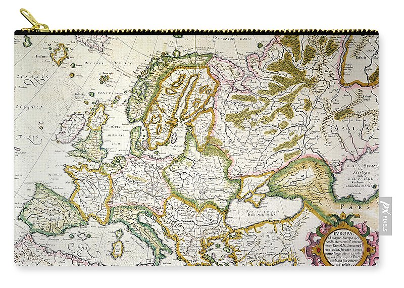 1623 Carry-all Pouch featuring the painting Map Of Europe, 1623 by Granger