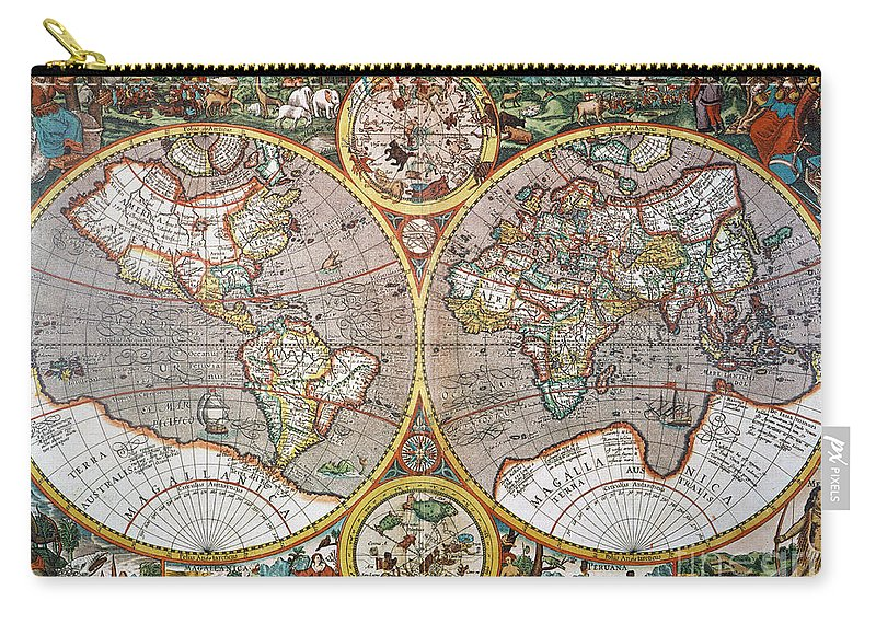 1594 Carry-all Pouch featuring the painting World Map, 1607 by Granger