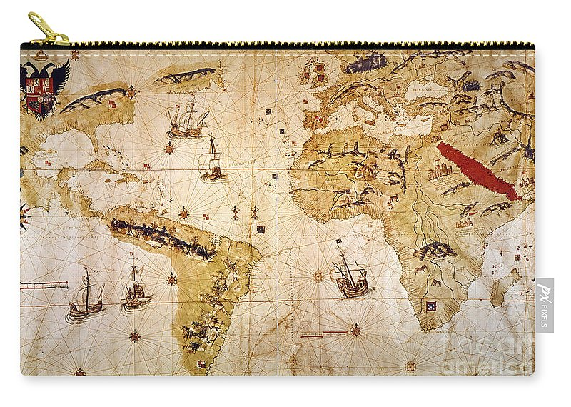 1526 Carry-all Pouch featuring the painting Vespucci's World Map, 1526 by Granger