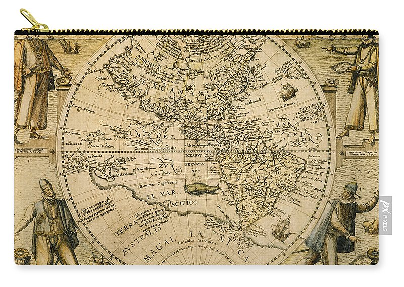 1596 Carry-all Pouch featuring the painting W. Hemisphere Map, 1596 by Granger