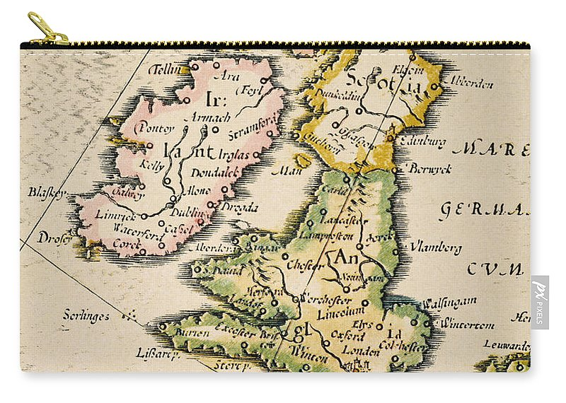 1623 Carry-all Pouch featuring the painting Map Of Great Britain, 1623 by Granger