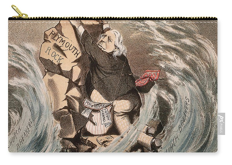 1885 Carry-all Pouch featuring the painting Beecher Cartoon, 1885 by Granger