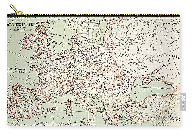 1810s Carry-all Pouch featuring the painting Map Of Europe, C1812 by Granger