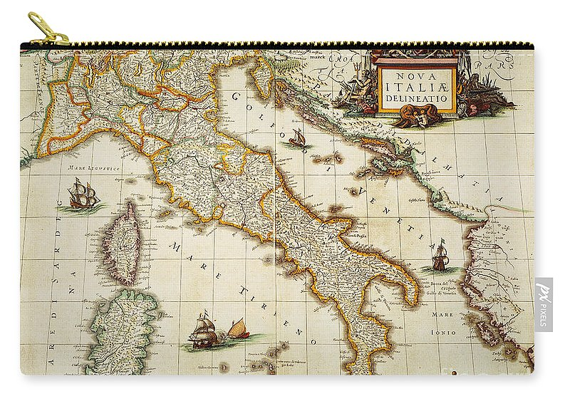 1631 Carry-all Pouch featuring the painting Map Of Italy, 1631 by Granger