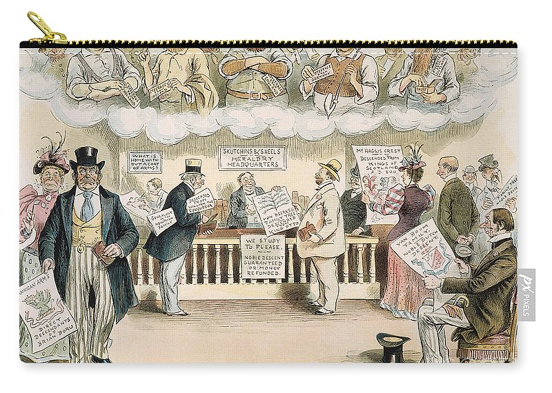 1894 Carry-all Pouch featuring the painting Foolish Forefathers, 1894 by Granger