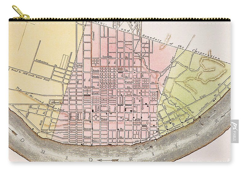 1837 Carry-all Pouch featuring the painting Cincinnati, Ohio, 1837 by Granger