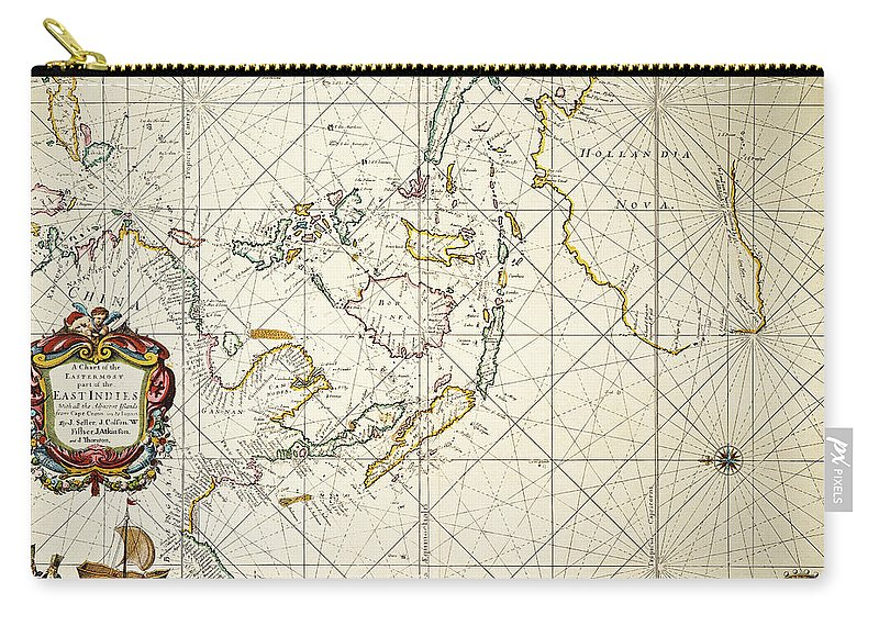 1670 Carry-all Pouch featuring the painting Map: East Indies, 1670 by Granger
