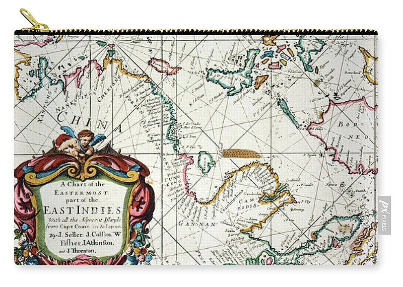 1670 Carry-all Pouch featuring the painting East Indies Map, 1670 by Granger