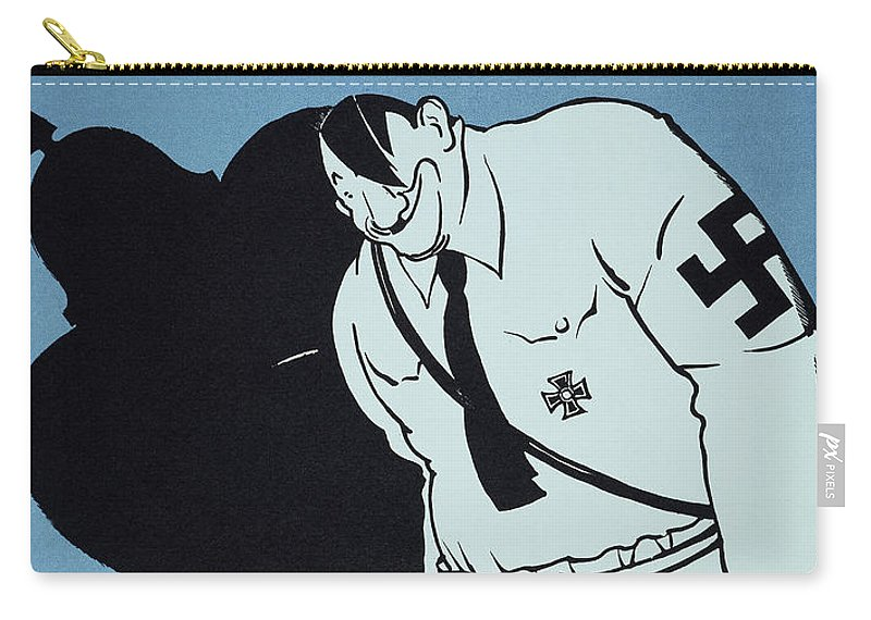 1935 Carry-all Pouch featuring the painting Adolf Hitler Cartoon, 1935 by Granger