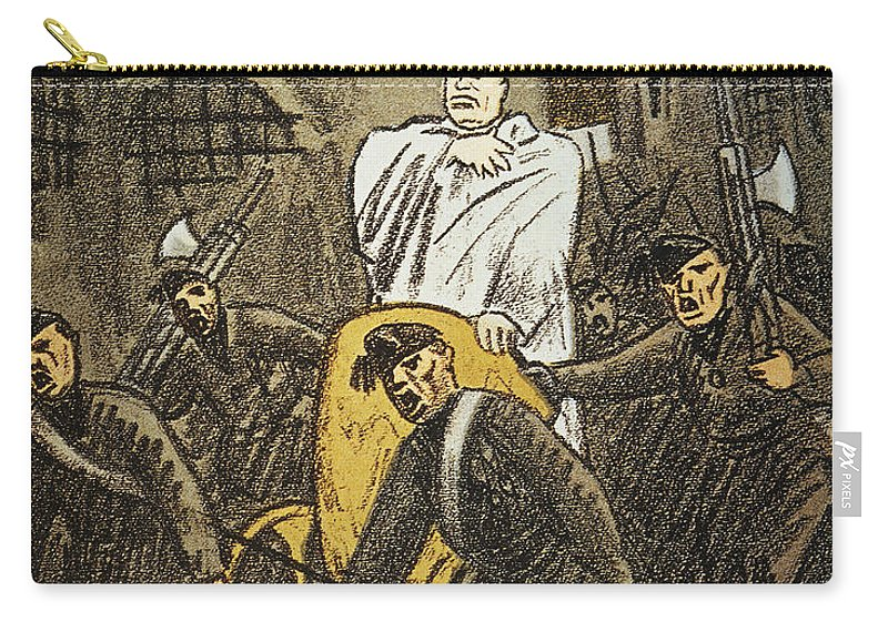 1925 Carry-all Pouch featuring the painting Benito Mussolini Cartoon by Granger