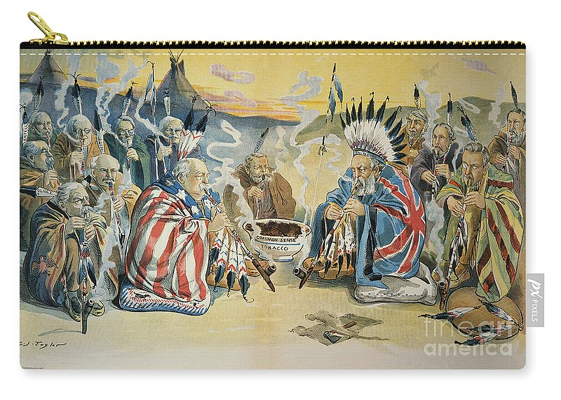 1896 Carry-all Pouch featuring the painting G. Cleveland Cartoon, 1896 by Granger