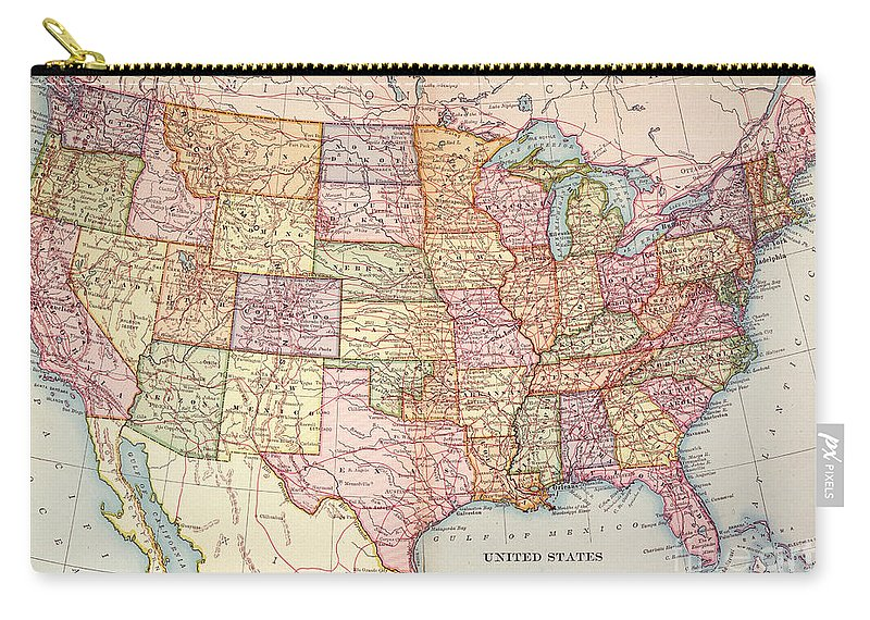 1905 Carry-all Pouch featuring the painting Map: United States, 1905 by Granger
