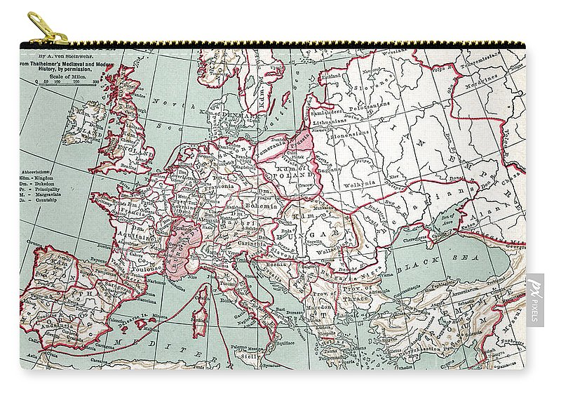 12th Century Carry-all Pouch featuring the painting Map Of Europe, 12th Century by Granger