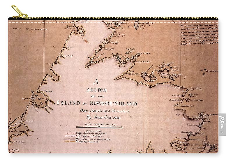 1763 Carry-all Pouch featuring the painting Cook: Newfoundland, 1763 by Granger