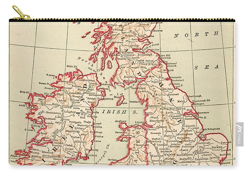 1890 Carry-all Pouch featuring the painting Map: British Isles, C1890 by Granger