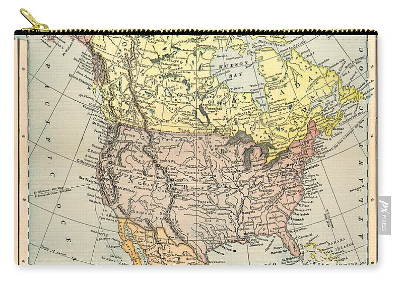 1890 Carry-all Pouch featuring the painting Map: North America, 1890 by Granger