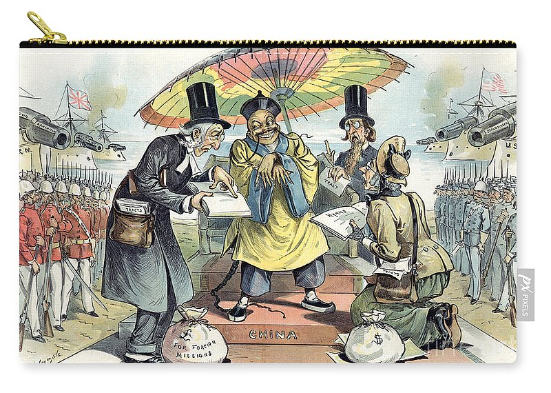 1895 Carry-all Pouch featuring the painting Missionary Cartoon, 1895 by Granger