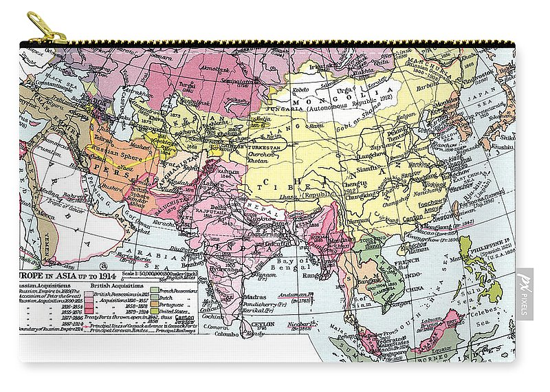 1914 Carry-all Pouch featuring the painting Map: Europe In Asia by Granger