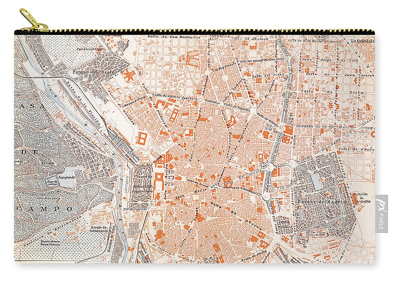 1920 Carry-all Pouch featuring the painting Spain: Madrid Map, C1920 by Granger