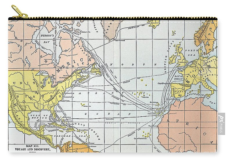 11th Century Carry-all Pouch featuring the painting Map: Atlantic Voyages by Granger
