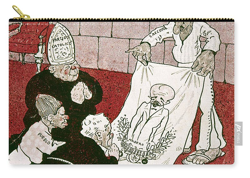 1910s Carry-all Pouch featuring the painting Mexico: Political Cartoon by Granger