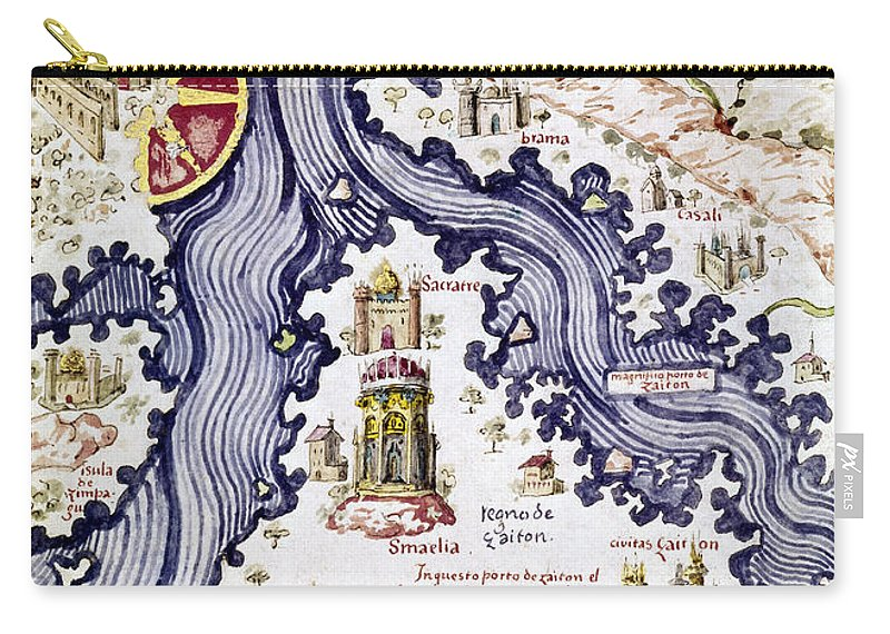 15th Century Carry-all Pouch featuring the painting Marco Polo (1254-1324) by Granger