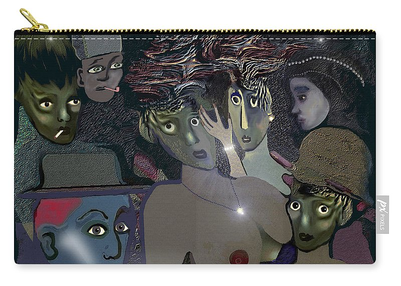 015 Berlin The 1920s Carry-all Pouch featuring the painting 015 - Berlin The 1920s - The Shining by Irmgard Schoendorf Welch