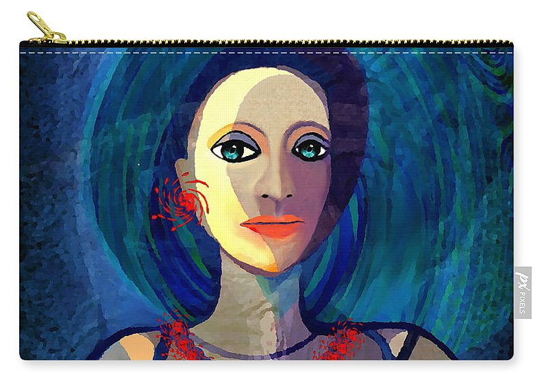 066 Woman With Red Necklace Av Carry-all Pouch featuring the painting 066 Woman With Red Necklace Av by Irmgard Schoendorf Welch