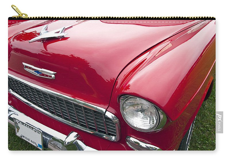 1955 Chevrolet Bel Air Carry-all Pouch featuring the photograph 1955 Chevrolet Bel Air Hood Ornament by Glenn Gordon