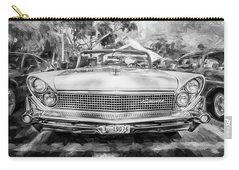 1959 Lincoln Carry-all Pouch featuring the photograph 1959 Lincoln Continental Town Car Mk Iv Painted Bw by Rich Franco