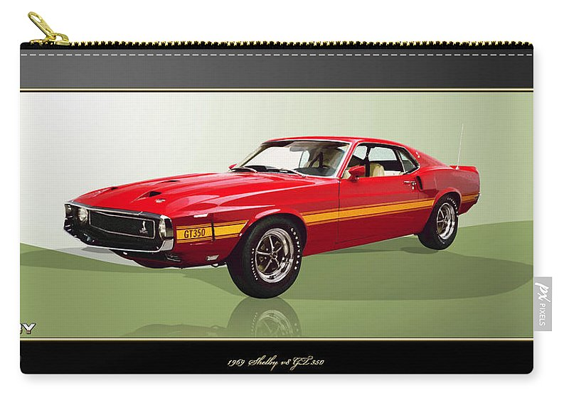 Wheels Of Fortune By Serge Averbukh Carry-all Pouch featuring the photograph 1969 Shelby v8 GT350 by Serge Averbukh